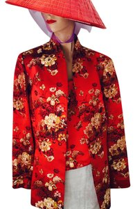 Flores & Flores Asian Silk Evening Wedding Events Travel Asia Quality Silk Blend Chinese Korean Japanese American Red Gold Black White * Matching top with Jacket