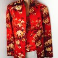 Flores & Flores Asian Silk Evening Wedding Events Travel Asia Quality Silk Blend Chinese Korean Japanese American Red Gold Black White * Matching top with Jacket Image 1