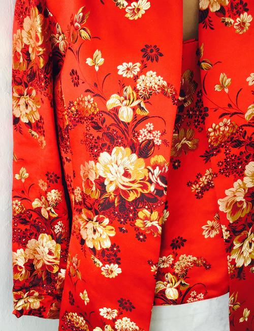 Flores & Flores Asian Silk Evening Wedding Events Travel Asia Quality Silk Blend Chinese Korean Japanese American Red Gold Black White * Matching top with Jacket Image 2