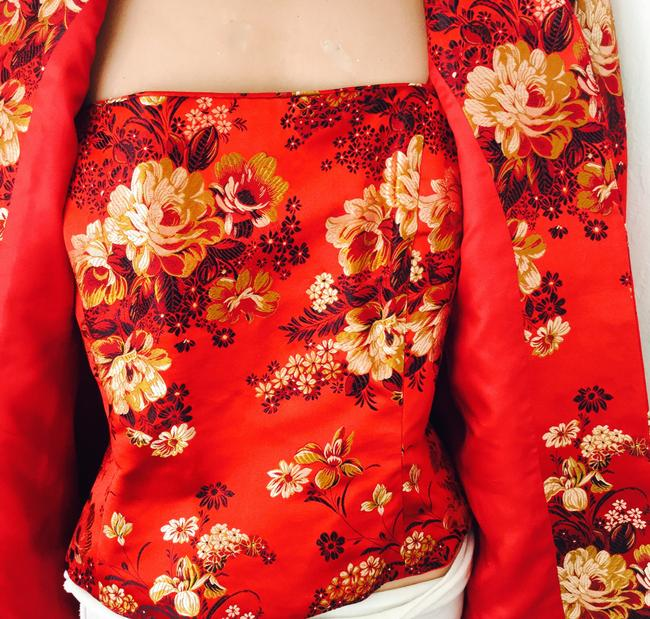 Flores & Flores Asian Silk Evening Wedding Events Travel Asia Quality Silk Blend Chinese Korean Japanese American Red Gold Black White * Matching top with Jacket Image 3