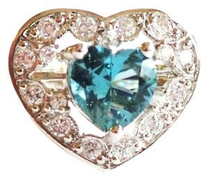 Other Valentine Heart Faceted London Blue Topaz 925 Sterling Silver 14k Ring 8.5