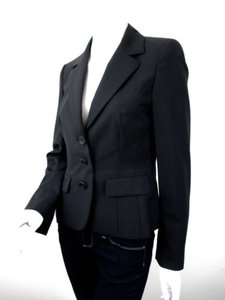 Escada Escada Black 100 Virgin Wool Button Front Blazer Jacket Eur