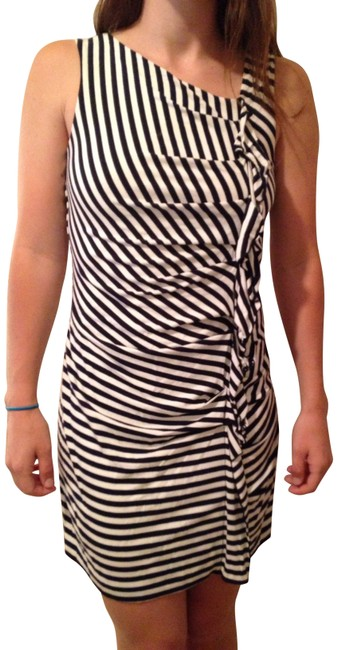 Item - Navy and White Striped Cotton Knee Length Short Casual Dress Size 6 (S)