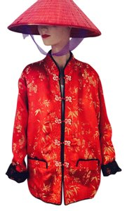 Other Reversible Asian All Seasons Travel Exotic Fall Winter Rain Night Out Dining Gold on Red * Red on Black * Plus Size NEW Jacket