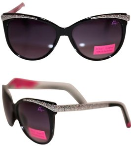6fafb1d2e318e Betsey Johnson NWT WOMENS SILVER TONE SUNGLASSES BLACK CAT EYE 100% UV