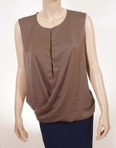 Halston Heritage Li110587cm Women Linen Rolled Hem Sleeveless Top Brown