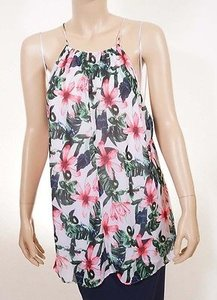 Vince Camuto Womens White Green Red Floral Lined Spaghetti Strap Top Multi-Color