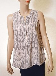 Max Studio Womens Pink Grey Silk V Neck Sleeveless Button Down Top Multi-Color
