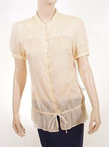 JOE'S Jeans Women Wheat Silk Button Down Short Sleeves Shirt Top Yellow