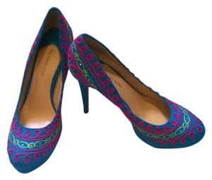 Gianni Bini Platform Fiesta Blue with Pink & Yellow Design Pumps