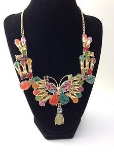 Betsey Johnson Betsey Johnson Butterfly Gemstone Rhinestone Statement Necklace