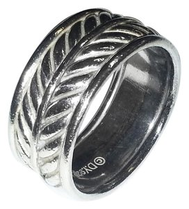 David Yurman David Yurman Sterling Silver Chevron Band Ring Size 10