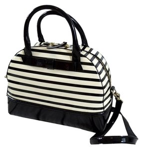 Kate Spade Patent Leather Striped Tote in Black & Cream