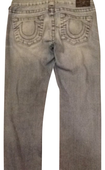 True Religion Vintage Grey Faded Boot Cut Jeans-Light Wash