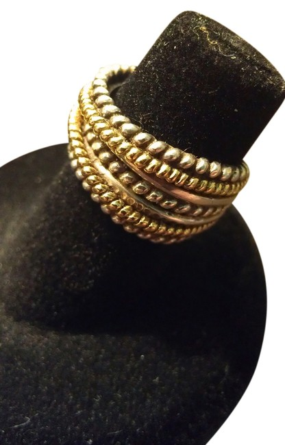 Item - Silver Gold Bh Sterling and 18k Rope Band Size 4.5 Ring