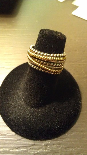 BHLDN BH sterling silver and 18k gold rope band ring, size 4.5 Image 1