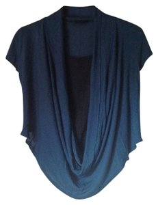 Mandee Teal Draping Plunging Teal Blue Top