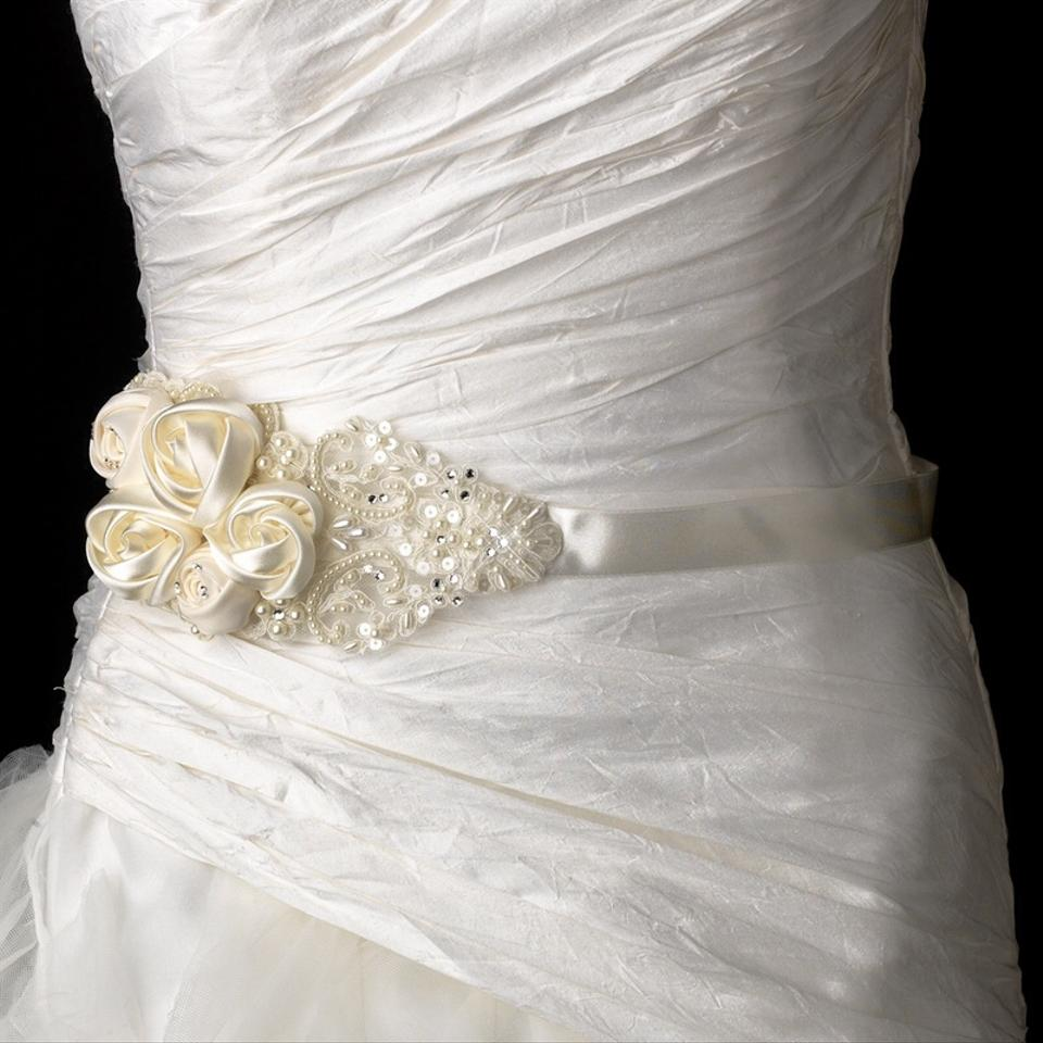 Intricate rhinestone pearl beaded lace flower wedding for Belt for lace wedding dress