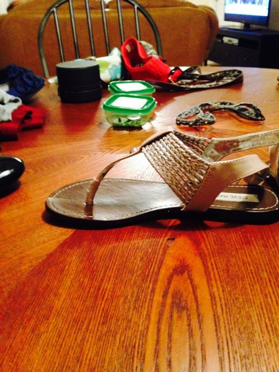 Steve Madden Faux Leather Light Pink and Silver Sandals