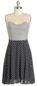 Modcloth short dress Black and white Strapless Polka Dot Dots on Tradesy