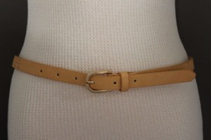 Women Beige Peach Fashion Belt Narrow Faux Leather Rusty Bronze Studs Buckle