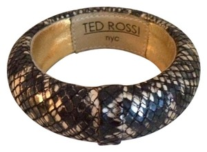 Ted Rossi Two bracelets: python bangle and black python cuff