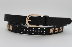 Other Women Thin Black Fashion Belt Narrow Faux Leather Bronze Studs Gold Buckle