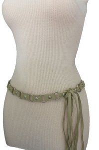 Other Women Ivory Fashion Tie Belt Hip High Waist Silver Metal Rings Faux Suede