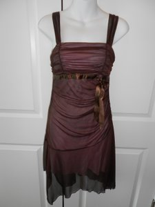 XOXO Brown Pink Accents Chiffon/Polyester Over Feminine Bridesmaid/Mob Dress Size 8 (M)