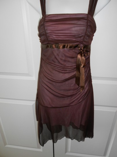 XOXO Brown Pink Accents Chiffon/Polyester Over Feminine Dress Size 8 (M)