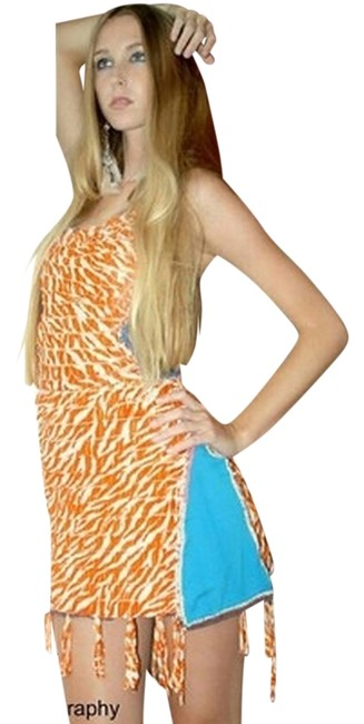 Other short dress orange white blue on Tradesy