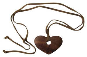 Other WOODEN HEART SUEDE CORD NECKLACE