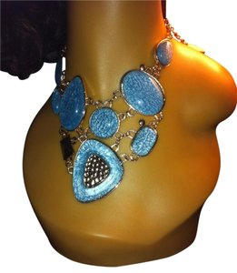 Blue Multi Rock Design Gold Plated Necklace 0012