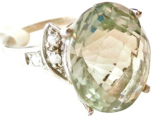 Large Natural Green Amethyst & Topaz Ring 7