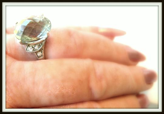 Other Large Natural Green Amethyst & Topaz Ring 7