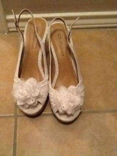 CL By Laundry Lace Cork Peep Toe White Wedges