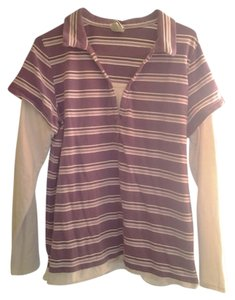 Fashion Bug Plus-size T Shirt Purple/White