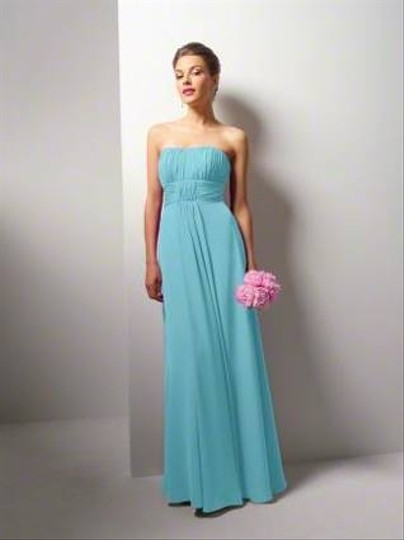 Alfred Angelo Aqua Chiffon Formal Bridesmaid/Mob Dress Size 6 (S)