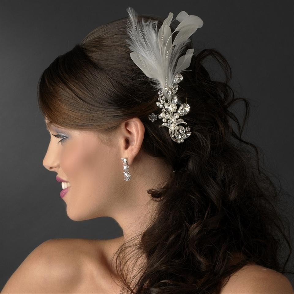 vintage white feathers & crystal wedding bridal special occasion