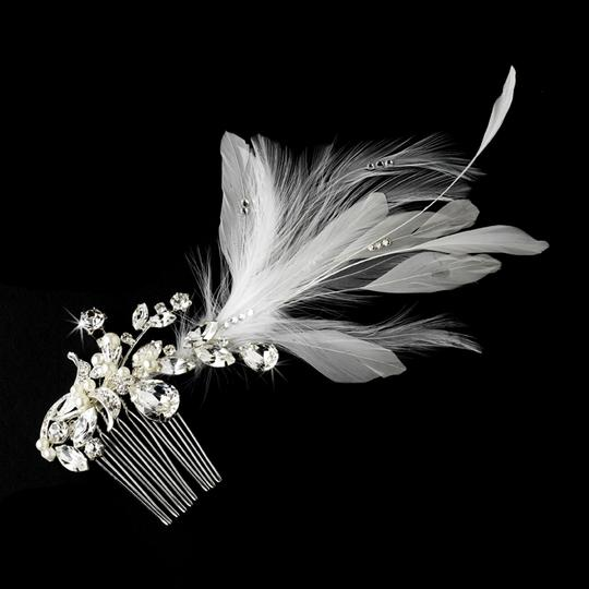 Vintage White Feathers & Crystal Wedding Bridal Special Occasion Hair Comb