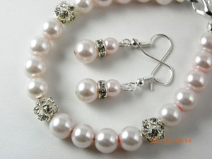 Pink Grey Sale Of 2 Bridesmaid Bracelets and Earrings Or Rhinestone Jewelry Set