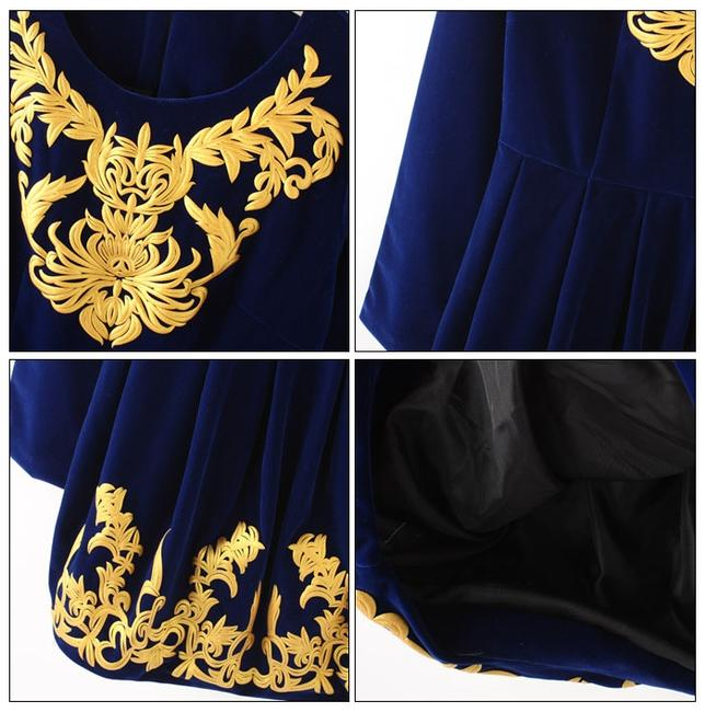 Chinese Factory short dress Royal Blue/Gold on Tradesy