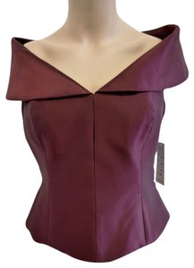 Saks Fifth Avenue New Silk Designer Unique Top plum
