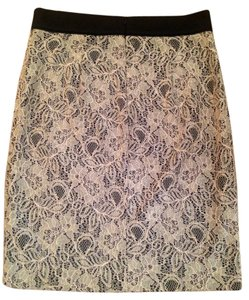 Forever 21 Pencil Lace Skirt Black and Cream