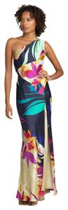 Mary L Couture Tropical Silk One Shoulder Train Long Slit Split Pattern Geometric Dress