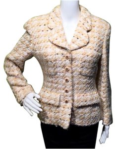 Chanel 38 Small Fantasy Tweed Yellow Blazer