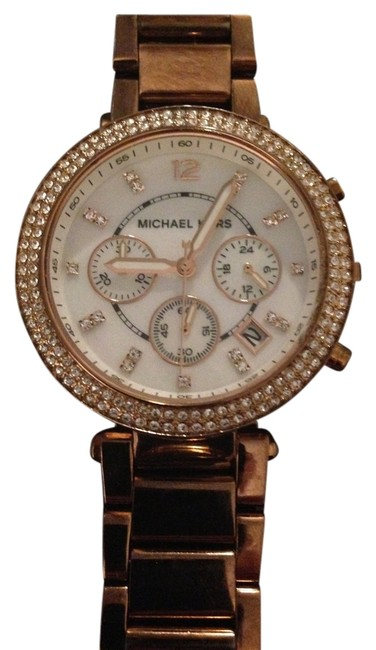 Item - Rose Gold Mid-size Stainless Steel Parker Chronograph Glitz Watch