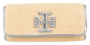 9197af47feef Tory Burch Tan Beige Nude Raffia Straw Woven Logo T Reva Leather Trim  Monogram Embellished Quilted