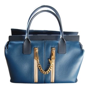 Chloé Cate Leather Double Zipper Satchel in Blue