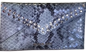 Michael Kors New Crystal Studs Blue Clutch